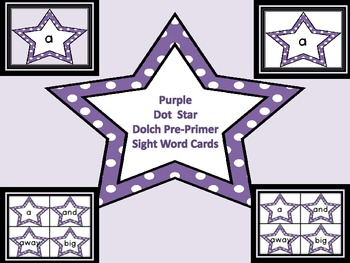 Purple Dot Star  Dolch Pre-Primer Sight Word Flashcards an