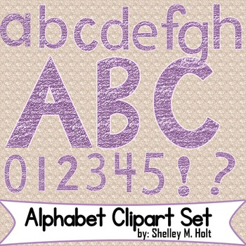 Purple Glitter Alphabet Clipart Set by Shelley M Holt