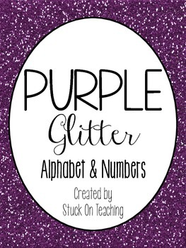 Purple Glitter Alphabet and Numbers