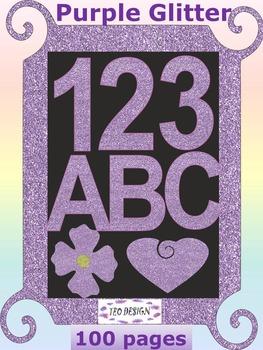 Classroom Decor - Glitter Purple Clipart - Alphabet - Numb