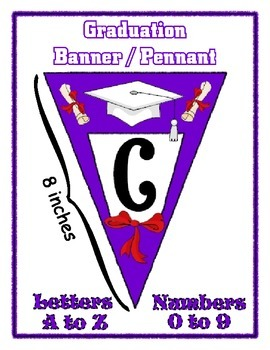 Purple Graduation Pennant Banner Set - Write any Message -