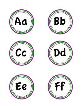 Word Wall Headers (purple & green polka dot)