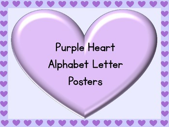 Purple Heart Full Page Alphabet Letter Posters Uppercase a