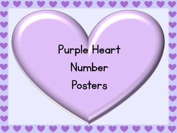 Purple Heart Full Page Number Posters 0-100