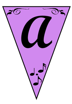 Purple Music-Themed Banners A-Z and 0-9