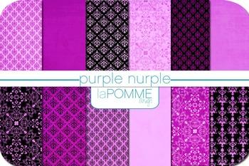 Purple Nurple & Black Patterned Digital Paper Pack