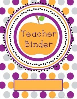 Purple & Orange Apple Teacher Binder