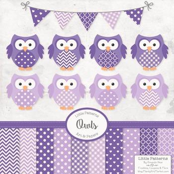 Purple Owl Clip Art Vectors & Papers - Baby Owl Clipart, O