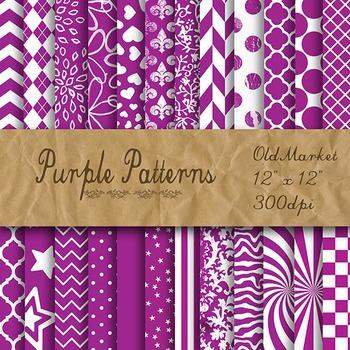 Purple Pattern Designs - Digital Paper Pack - 24 Different