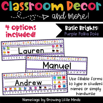 Purple Polka Dot Nametags Classroom Decor
