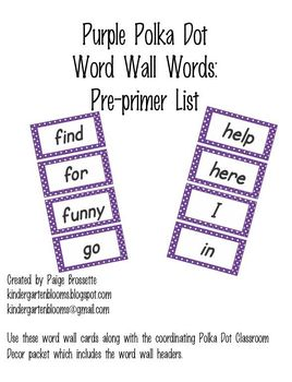 Purple Polka Dot Word Wall Words Pre-Primer
