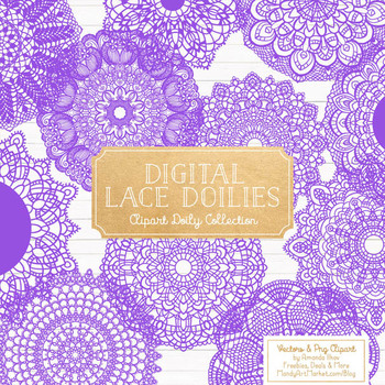 Purple Round Lace Doilies - Lace Doily, Vintage Doilies