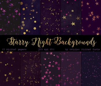 Purple Starry Midnight Backgrounds Celestial Stars Digital