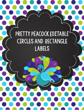 Purple, Teal, and Lime Green Peacock Editable Labels