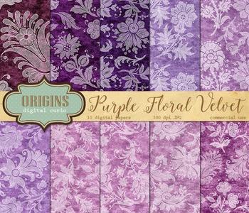 Purple Velvet White Floral Lace digital paper backgrounds