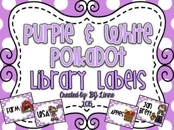 Purple & White Polkadot Classroom Library Labels