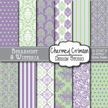 Purple and Green Damask Digital Paper 1379