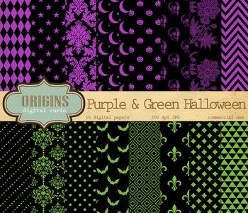 Purple and Green Halloween Digital Scrapbook Paper Pack