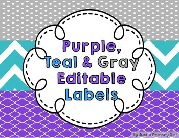 Purple and Turquoise Editable Full Page Labels