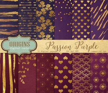 Purple and gold paint digital scrapbooking paper backgroun