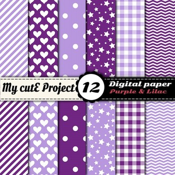 """Purple and lilac - DIGITAL PAPER - Scrapbooking- A4 & 12x12"""" -"""