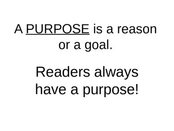 Purpose for Reading and Making Predictions