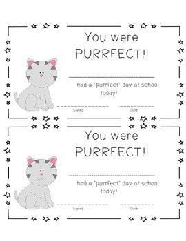 """Purrfect"" Award Certificate"