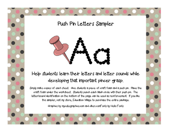 Push Pin Letters for Word Work Freebie