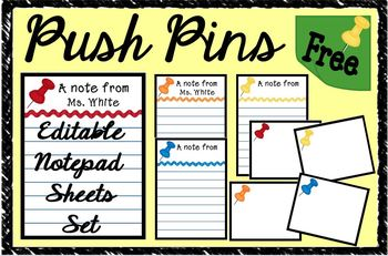 """Push Pins"" Notepad Sheets Set {Editable}"
