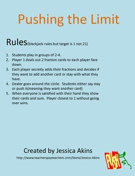 Pushing the Limit an Adding Fractions Game