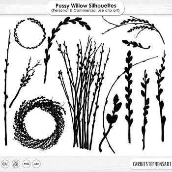 Pussy Willow Silhouette Clip Art, Easter, Mother's Day Cli