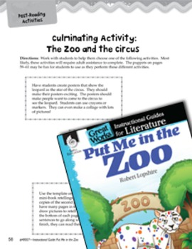 Put Me in the Zoo Close Reading and Text-Dependent Questio