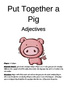 Put Together a Pig Adjectives Game