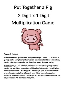 Put Together a Pig Multiplication 2 digit x 1 digit Game