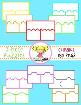 Puzzle Clipart {3 Piece Color Templates}