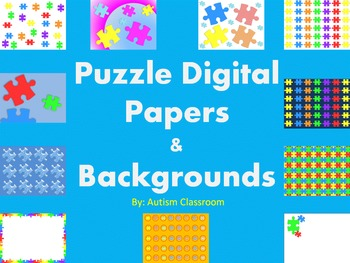 Puzzle Digital Paper and Backgrounds (Autism Awareness Month)