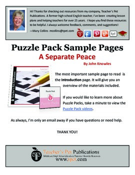 Puzzle Pack Sampler A Separate Peace