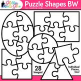 Puzzle Shapes Clip Art [Line Art]