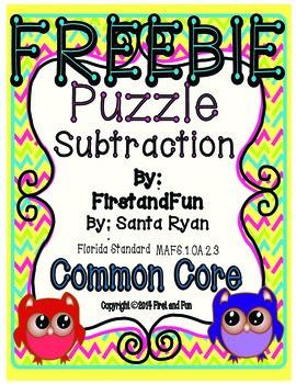 Puzzle Subtraction Pack Envision MAFS & Common Core Freebie