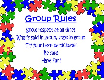Puzzle Theme Poster: Group Rules (editable!)