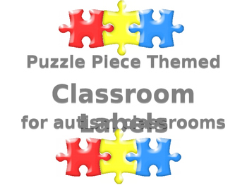 Puzzle piece themed CLASSROOM LABELS for autism classrooms