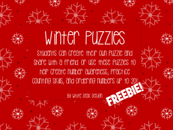 Puzzles 0-20 {Winter/Christmas Themed} FREEBIE
