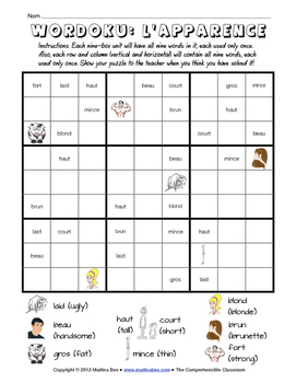 Puzzles: Physical appearance descriptors Wordoku in French