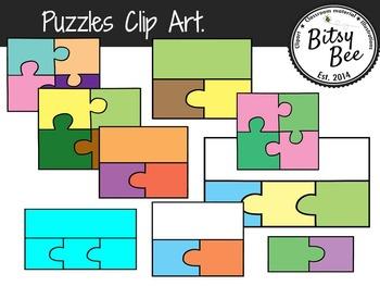 Puzzles Set Clip Art.