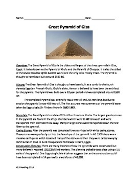 Pyramid of Giza - Review Article Questions vocabulary activities