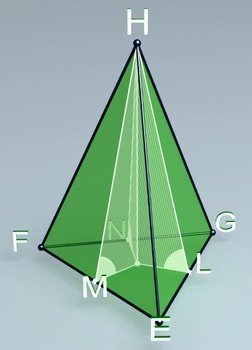 Pyramid with lateral faces forming equal angles with base