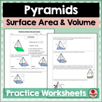 Pyramids Surface Area and Volume Practice Geometry