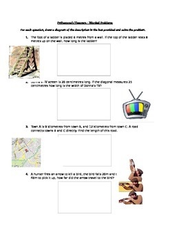 Pythagoras's Theorem Worded Problem Worksheet
