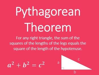 Pythagorean Theorem Converse Mini Posters 8.G. 6 7 Geometr