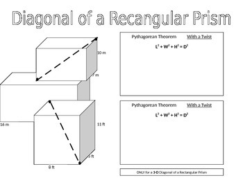 Pythagorean Theorem & Diagonals of Rectangular Prisms PA C